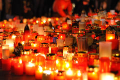 Prague, candle lights for Vaclav Havel. DECEMBER 20: Hundreds of people come to light a candle in honor of Vaclav Havel, who died on the streets of czech cities royalty free stock photos