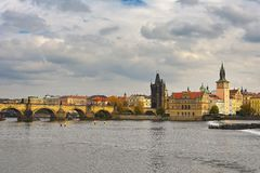 Prague, capital of the Czech Republic. Scenic view of the Old Town pier architecture and Charles Bridge over Vltava river. Prague, capital of the Czech Republic royalty free stock photo