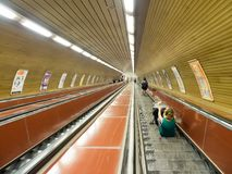 Escalators in a subway station, Prague Stock Photos