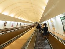 Escalators in a subway station, Prague Royalty Free Stock Image
