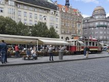 Tram cafe at Václavské náměstí avenue in Prague Stock Photography
