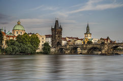 Prague. The Carlos bridge of Prague near of the Moldava river Royalty Free Stock Photo