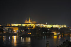 Prague Castle. Czech presidential palace with Saint Vitus Cathedral in background at night Stock Photography