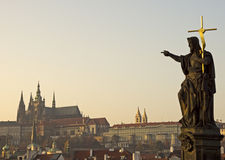 Prague castle. View from Charles bridge, statue pointing on the Prague castle Royalty Free Stock Photography