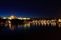 Prague Castle. Castle and the St. Charle's Bridge in downtown Prague, Czech Republic Stock Photo
