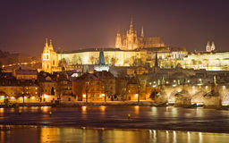 Prague castle. And charles bridge at night, czech republic Stock Photo