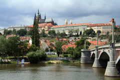 Prague castle. And Vltava river (Prague, Czech Republic Royalty Free Stock Photography