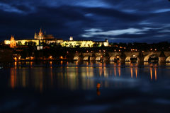 Prague castle. Night view of Prague castle and Hradcany (Prague, Czech Republic Royalty Free Stock Photography