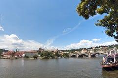Prague castle from across vltava Royalty Free Stock Images