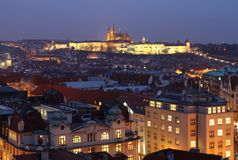 Prague Castle At Night Royalty Free Stock Photo