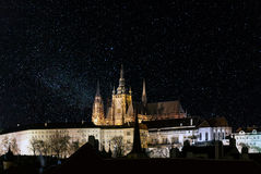 Prague Castle At Night, With Stars Filled Sky Royalty Free Stock Photos