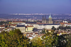 Prague castle. Autumn view on Prague castle from Petřín Royalty Free Stock Photo
