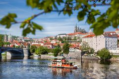 Prague Castle with  bridge  in Czech Republic Stock Photo