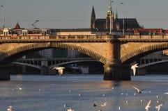 Prague castle, bridges on Vltava river Royalty Free Stock Image