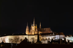 Prague Castle and Cathedral by night, Czech stock photo
