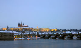 Prague Castle with Charles bridge Stock Images