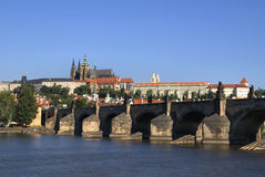 Prague Castle and Charles bridge. View on Prague Castle and Charles bridge on a sunny day Royalty Free Stock Image
