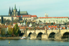 Prague castle and Charles bridge. In autumn Royalty Free Stock Photos