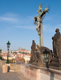 Prague Castle and Charles Bridge Stock Photo