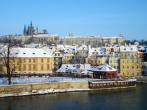 Prague Castle from Charles Bridge Stock Image