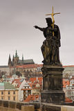 Prague castle from Charles bridge Stock Images