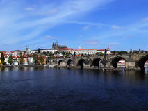 Prague castle and Charles bridge Royalty Free Stock Photos