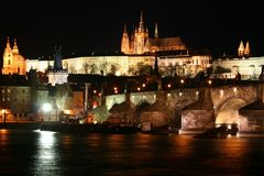 Prague Castle and the Charles Bridge. In Prague, Czech Republic Stock Image