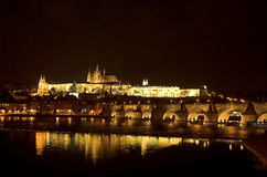 Prague Castle and Charles Bridge. At night Royalty Free Stock Image