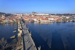 Prague Castle and Charles Bridge Royalty Free Stock Photography