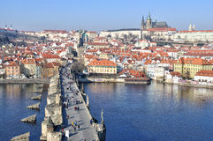 Prague Castle and Charles Bridge Stock Image