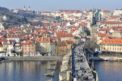 Prague Castle and Charles Bridge Royalty Free Stock Photo