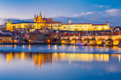 Prague Castle and Charles Bridge, Czech Republic Stock Photography