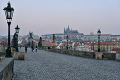 Prague Castle and Charles Bridge at dawn Royalty Free Stock Photography