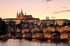 Prague Castle with Charles Bridge at Dusk royalty free stock images