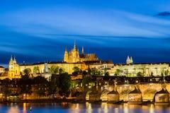 Prague Castle, Charles Bridge and the Little Quarter at blue hour, Prague, Czech Republic. Stock Photo