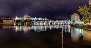 Prague Castle and Charles bridge in the night Royalty Free Stock Photo