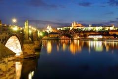 Prague castle and Charles bridge at night Royalty Free Stock Photos