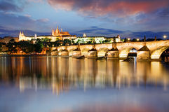 Prague castle and Charles bridge at night Royalty Free Stock Images