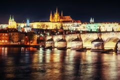 Prague Castle and Charles Bridge in the night Stock Images