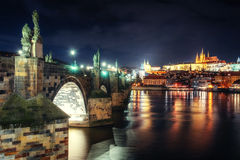 Prague Castle and Charles Bridge in the night Royalty Free Stock Photography