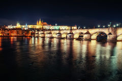 Prague Castle and Charles Bridge in the night Stock Image