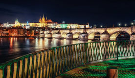 Prague Castle and Charles Bridge in the night Stock Photography