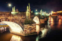 Prague Castle and Charles Bridge in the night Royalty Free Stock Image