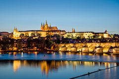 Prague castle and the Charles bridge by night Royalty Free Stock Photo