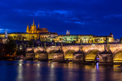 Prague Castle and Charles Bridge Royalty Free Stock Images