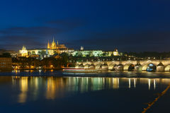 Prague Castle and Charles Bridge at night, Czech Republic Royalty Free Stock Images
