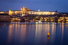 Prague Castle and Charles Bridge at night, Czech republic stock photo