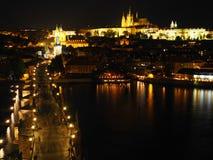 Prague castle and Charles bridge at night, Czech Republic Stock Images