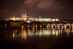 Prague Castle and Charles Bridge. Night scenery on dominant of Prague Stock Photography