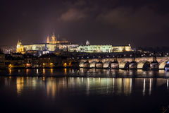 Prague Castle and Charles Bridge. Night scenery on dominant of Prague Royalty Free Stock Photo